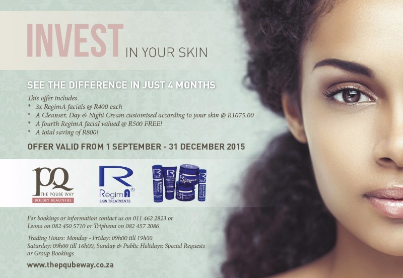 Invest in your Skin – R800 off our RegimA Facial Treatment